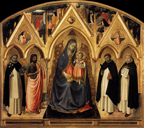 St. Thomas Aquinas is the figure at the far right.