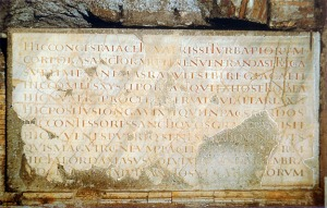 Pope Damasus Inscription in the Crypt of the Popes